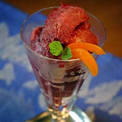 Cape Cod Cranberry Sorbet in a Waterford Champagne Crystal Glass