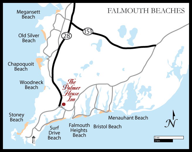 Falmouth, Cape Cod Beaches Map