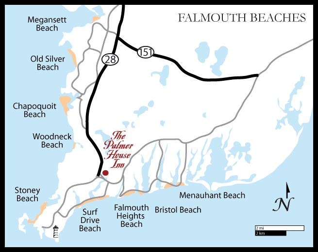 Falmouth, Cape Cod Beaches Map