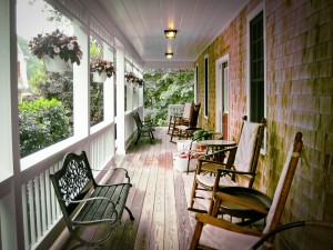 Porch of a Cape Cod guesthouse.
