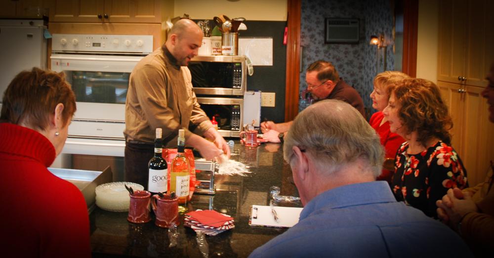 Cape Cod Cooking Getaway Class: Chef prepares the dough.