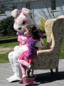 Easter bunny greeting children in Falmouth.
