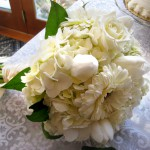 White bridal bouquet at B&B