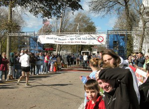 Cape Cod Marathon finish line, just a few steps from the Palmer House Inn.