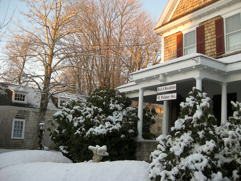B&B Sign by Front Porch in Snow