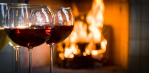 Red wine by a warm fire.