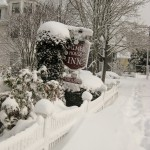 Snow on the Cape Cod B&B sign