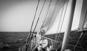 Cape Cod Sailing with Reefed Jibs of the Liberte