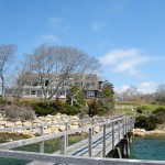 Jonsson Center from the dock. Falmouth, Cape Cod,