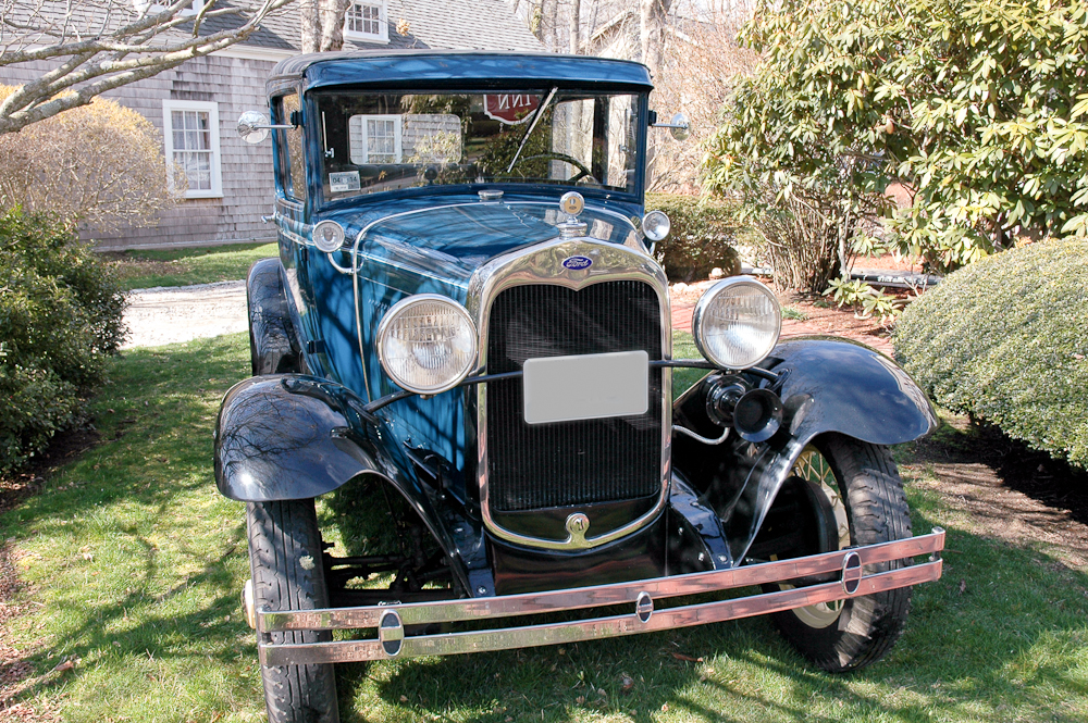 Blue Model A Ford at the Palmer House