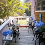 Cape Cod Hydrangeas on the Porch for Breakfast