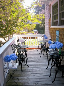 Cape Cod Hydrangeas on the Porch for Breakfast