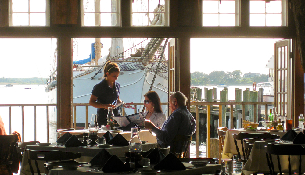New England Dining, lunch and Landfall with tallship at the dock.