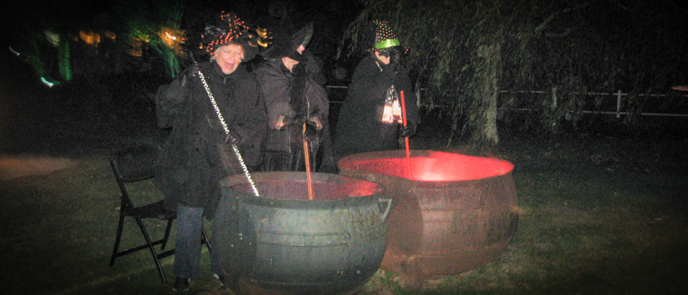 Witches and Cauldrons at the Cape Cod haunted house.
