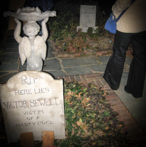 Halloween tombstones at the Cape Cod haunted house.