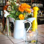 Osteria La Civetta Flowers on Italian Tile Bar