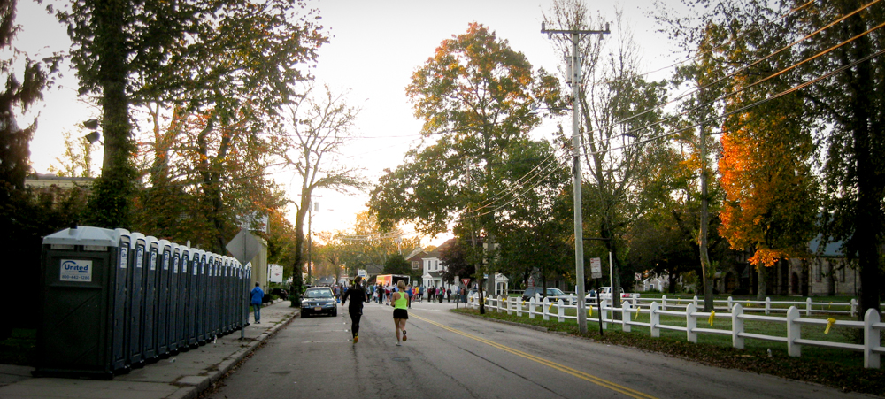 Two runners on their way to the Cape Cod Marathon