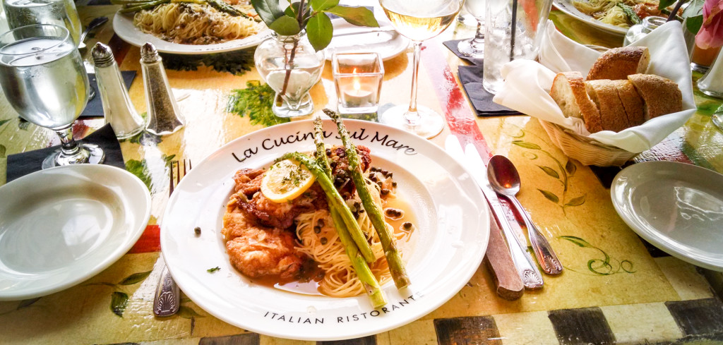 A delightful table and Pollo Limone.