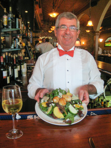 Delicious and healthy plate at the bar... with a glass of chardonnay.