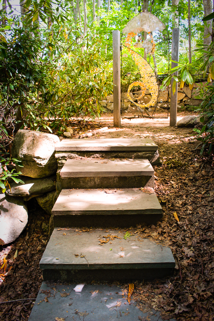 Gypsy's Staircase by Amy Ragus, part of the Portals & Passagways Exhibit at Highfield Hall through September 2014, in Falmouth, Cape Cod, Massachusetts, USA.