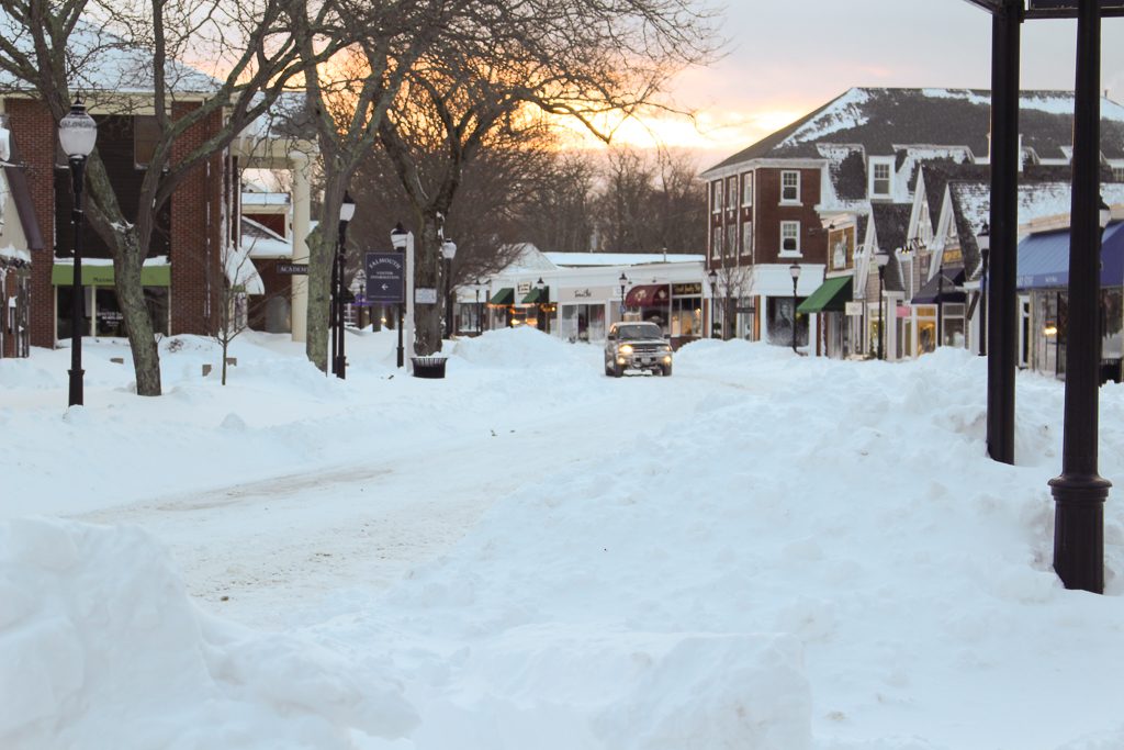 Falmouth Main St in snow blizzard of 2015
