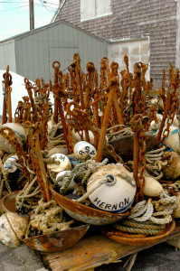 Rusty fishing buoys