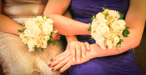 Wedding rings and bouquets.