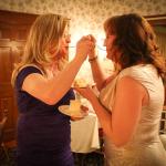 Sharing the winter wedding cake.