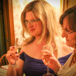 Winter wedding elopement champagne toast.