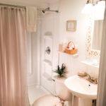 Bathroom in the Henry Thoreau Cottage at the Palmer House Inn, Falmouth, Cape Cod, Massachusetts, USA.
