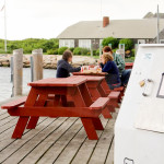 Picnic benches at the Clam Shack in Falmouth, Cape Cod, Massachusetts, USA.