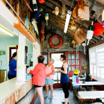 Dining at the Clam Shack in Falmouth, Cape Cod, Massachusetts, USA.