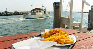 Fried clams at the Clam Shack in Falmouth, Cape Cod, Massachusetts, USA.