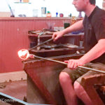 Glass blowing at Sandwich Glass Museum in Sandwich, Massachusetts, USA.