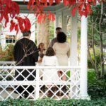 Fall wedding at the Museums on the Green gazebo in Falmouth, Cape Cod, Massachusetts, USA.