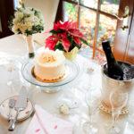 Fall wedding cake and champagine