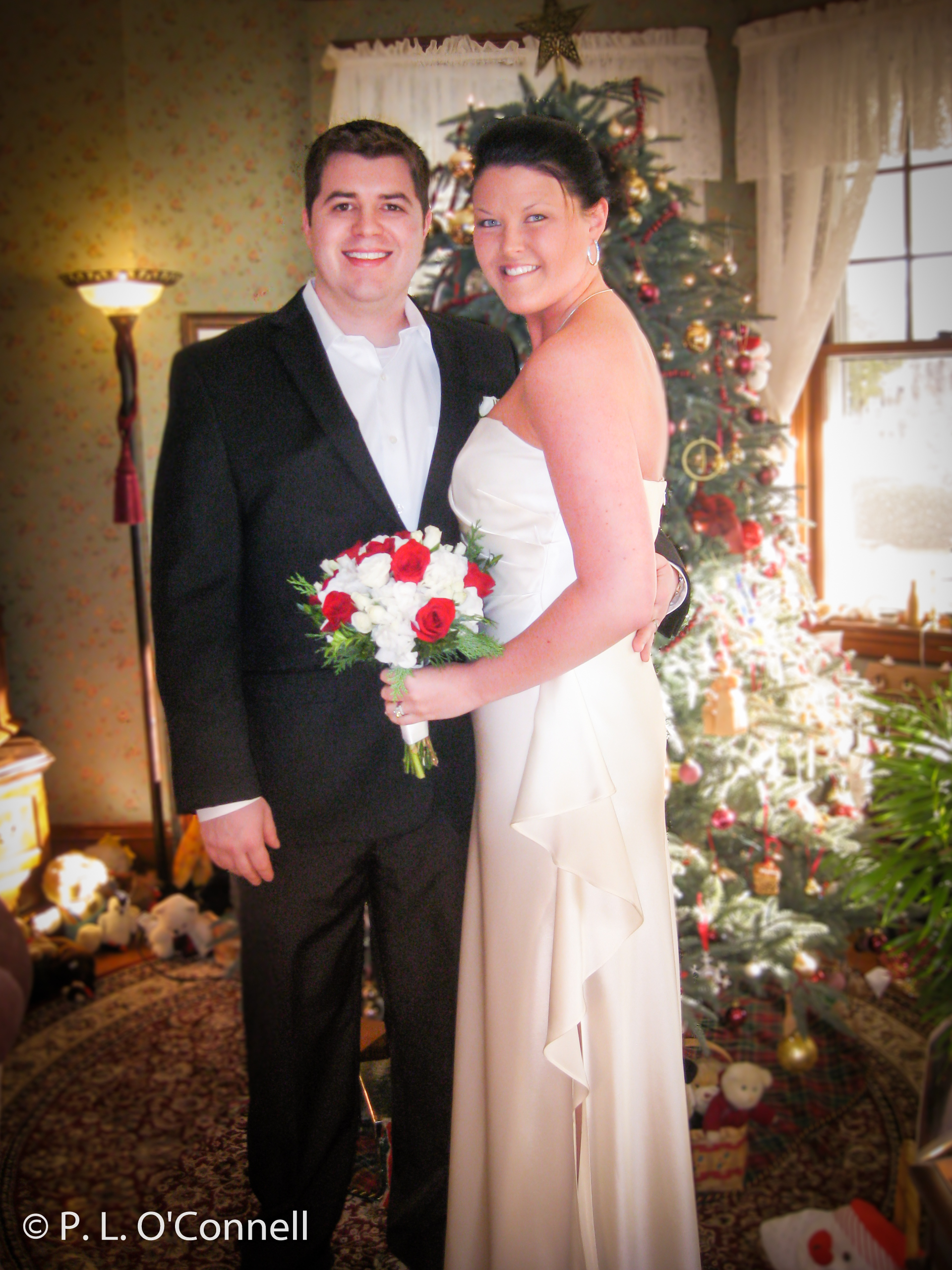 Winter weddings on Cape Cod by the Christmas tree