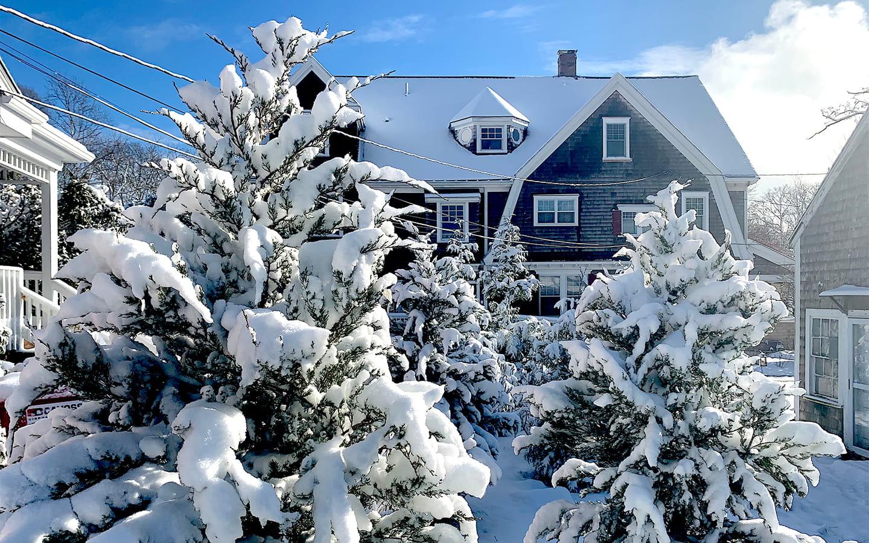 snow at Palmer House Inn in Falmouth, MA