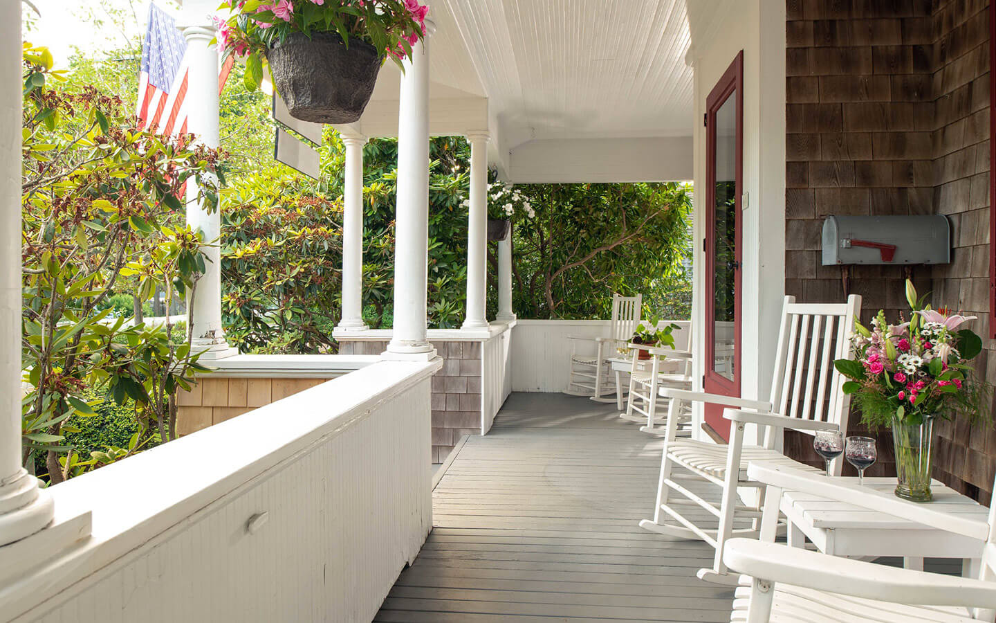 Front porch with chairs at our Cape Cod bed and breakfast
