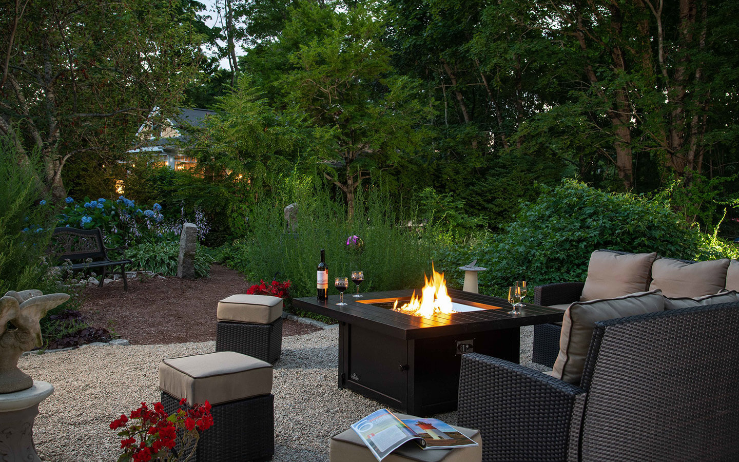 Cozy fire and seating outside at our B&B in Falmouth, MA