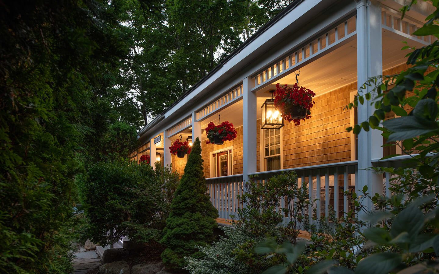 The porch in the evening at our B&B in Cape Cod MA