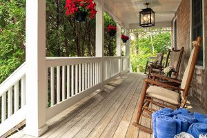 Front porch with rocking chairs at our bed and breakfast in Falmouth, MA bed and breakfast