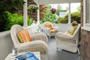 Seating area on the porch at our Falmouth B&B