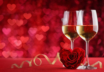 Two glasses of wine for Valentine's Day