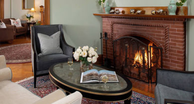 cozy room at Palmer House Inn with fireplace