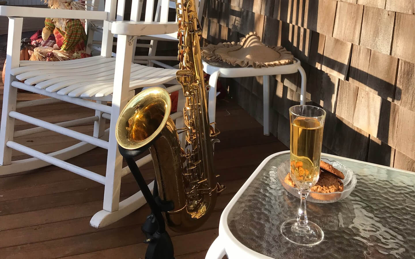 Saxophone on the porch