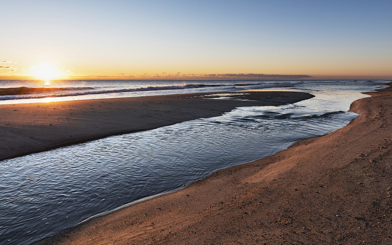 The beautiful beach at sunset