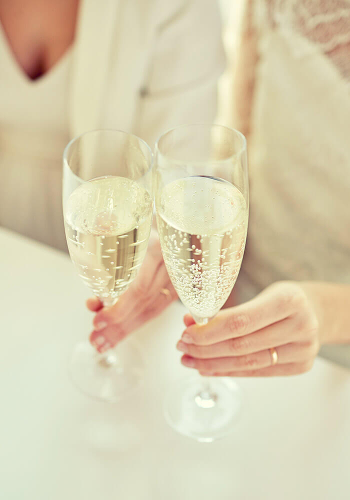 Champagne at an elopement
