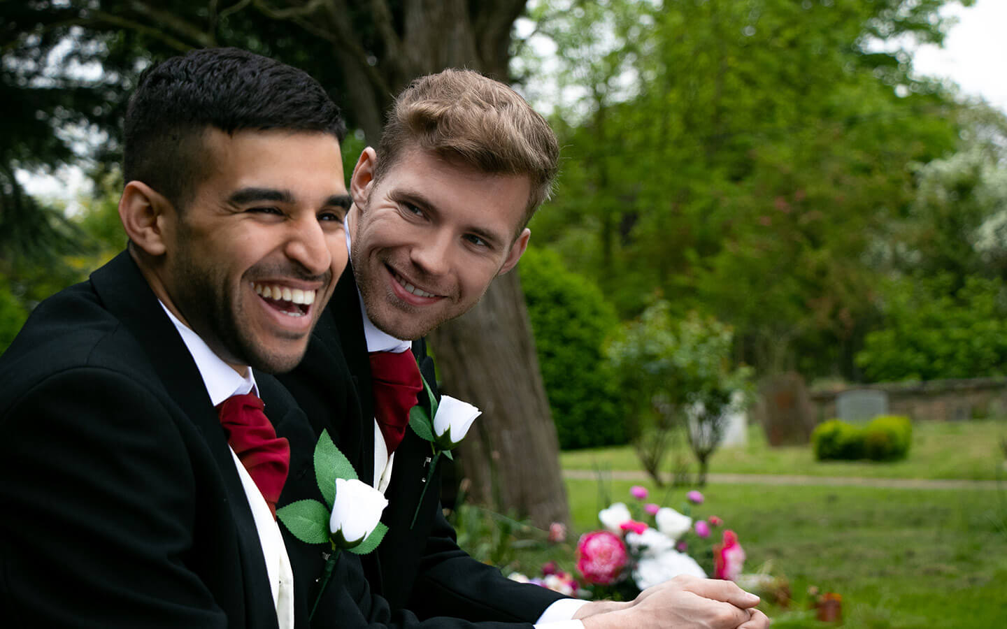 Gay elopement couple