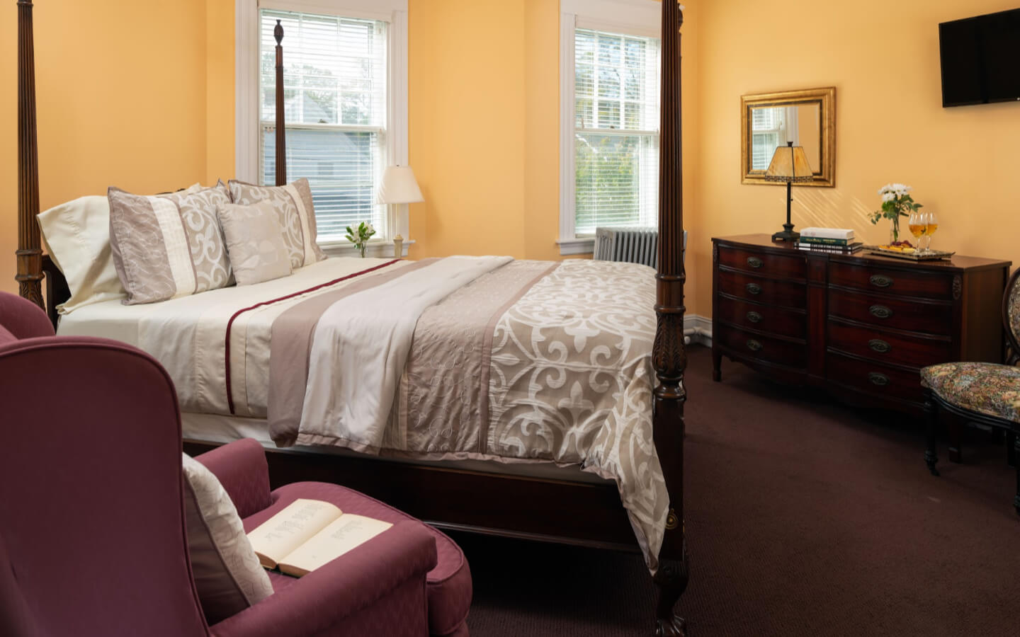 Room 2 - Edith Wharton Room bed at our Falmouth, MA bed and breakfast